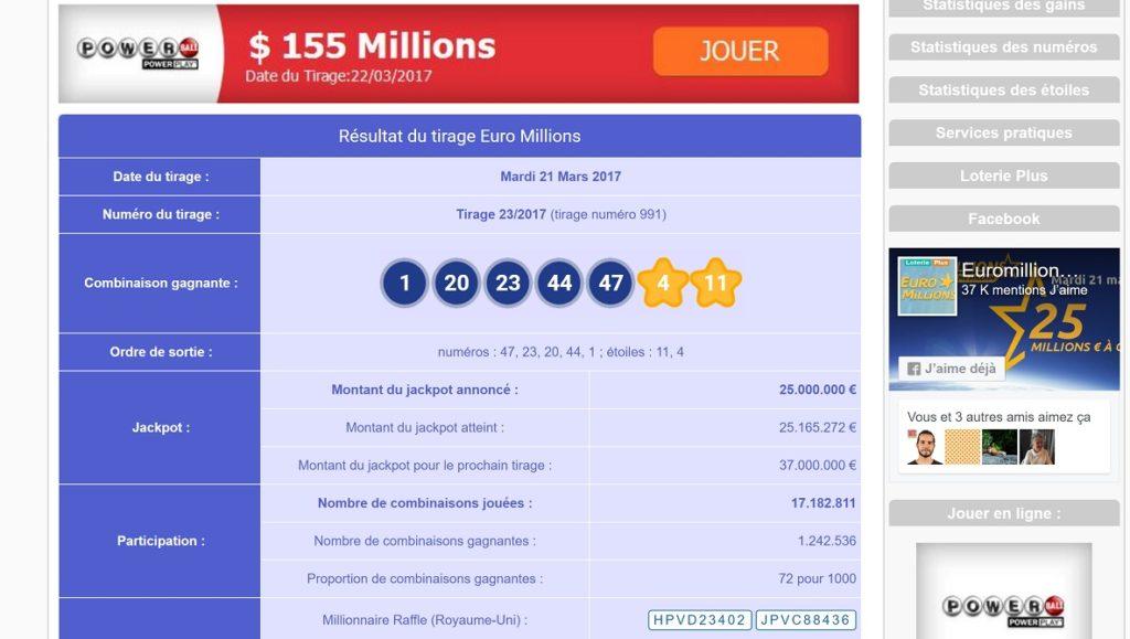 Les combinaisons gagnantes Euromillions sur LoteriePlus.com