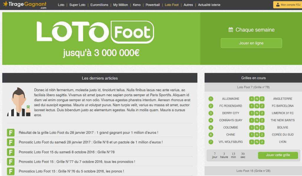 Les résultats du Loto Foot sur Tirage-Gagnant