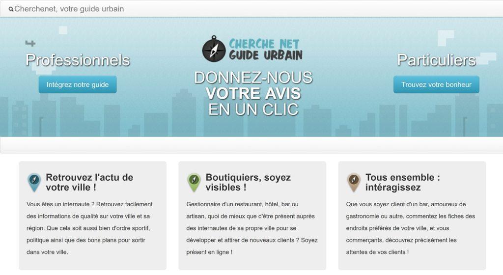La page d'accueil du site Cherchenet