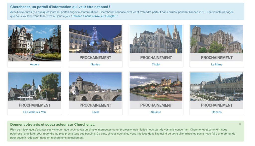 Les villes proposées par le projet Cherchenet