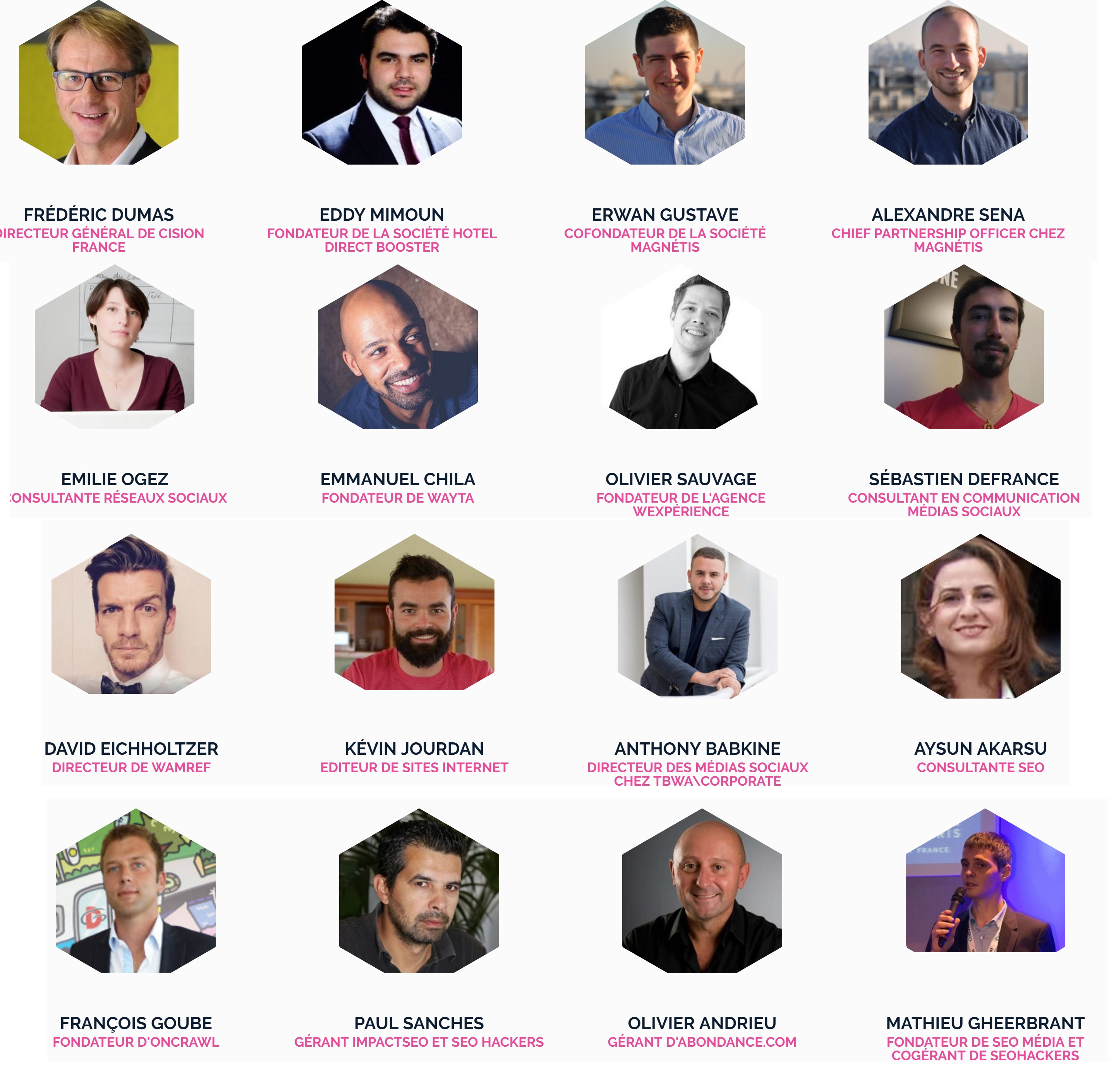 Intervenants du WebCampDay 2017