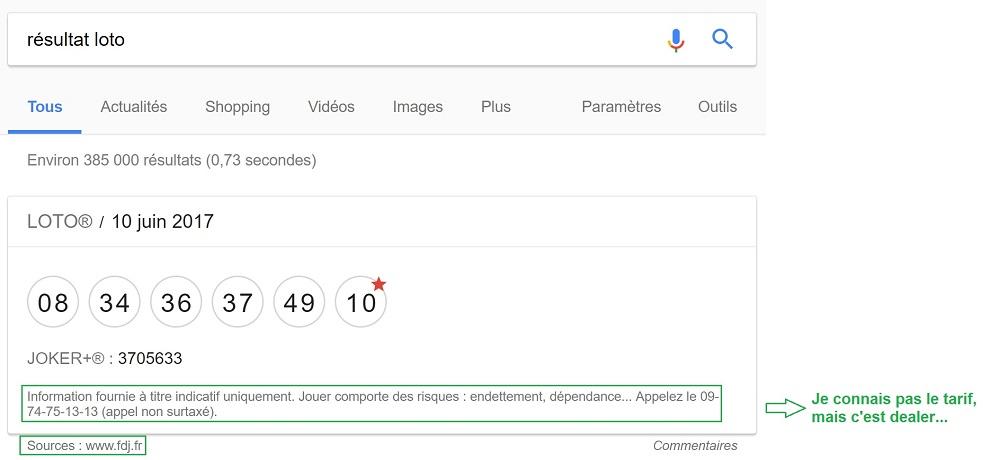 Résultat Loto en P0 sur Google.fr