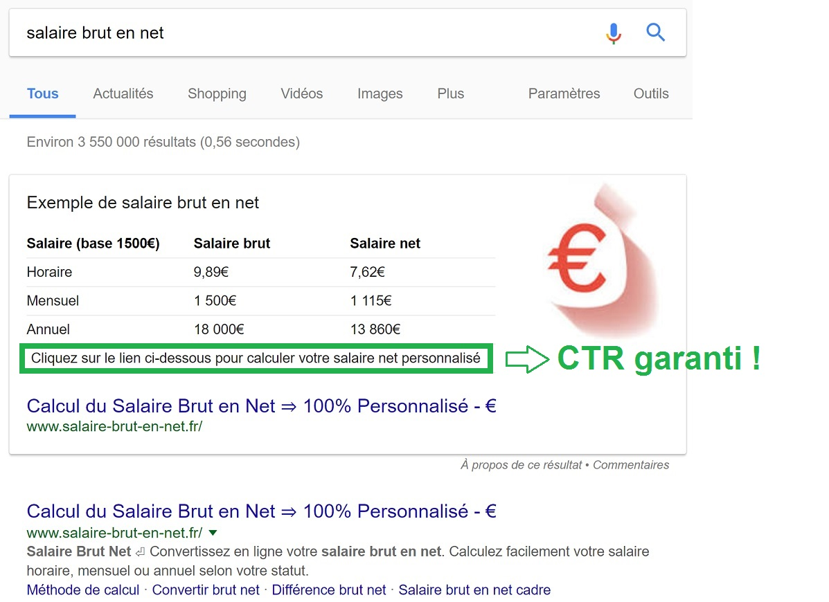 """Featured Snippet autour de la requête """"salaire brut en net"""""""