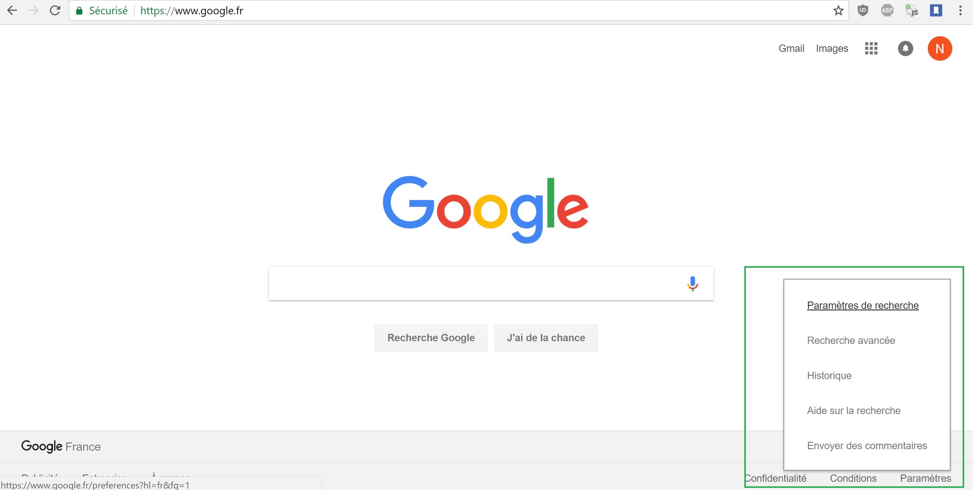 Changer de langue sur Google.fr