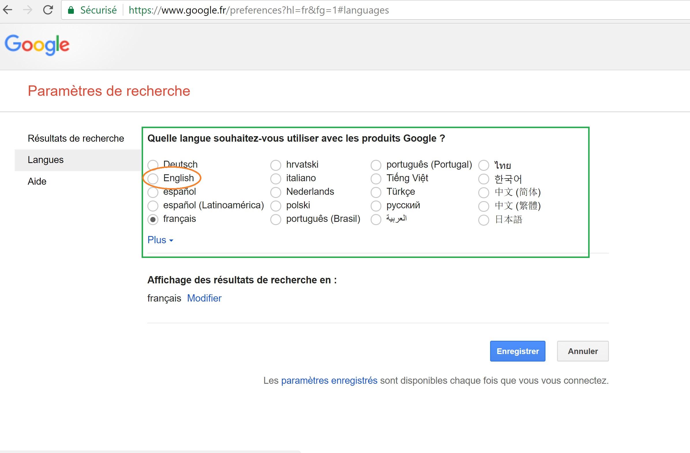 Mettre Google.fr en anglais