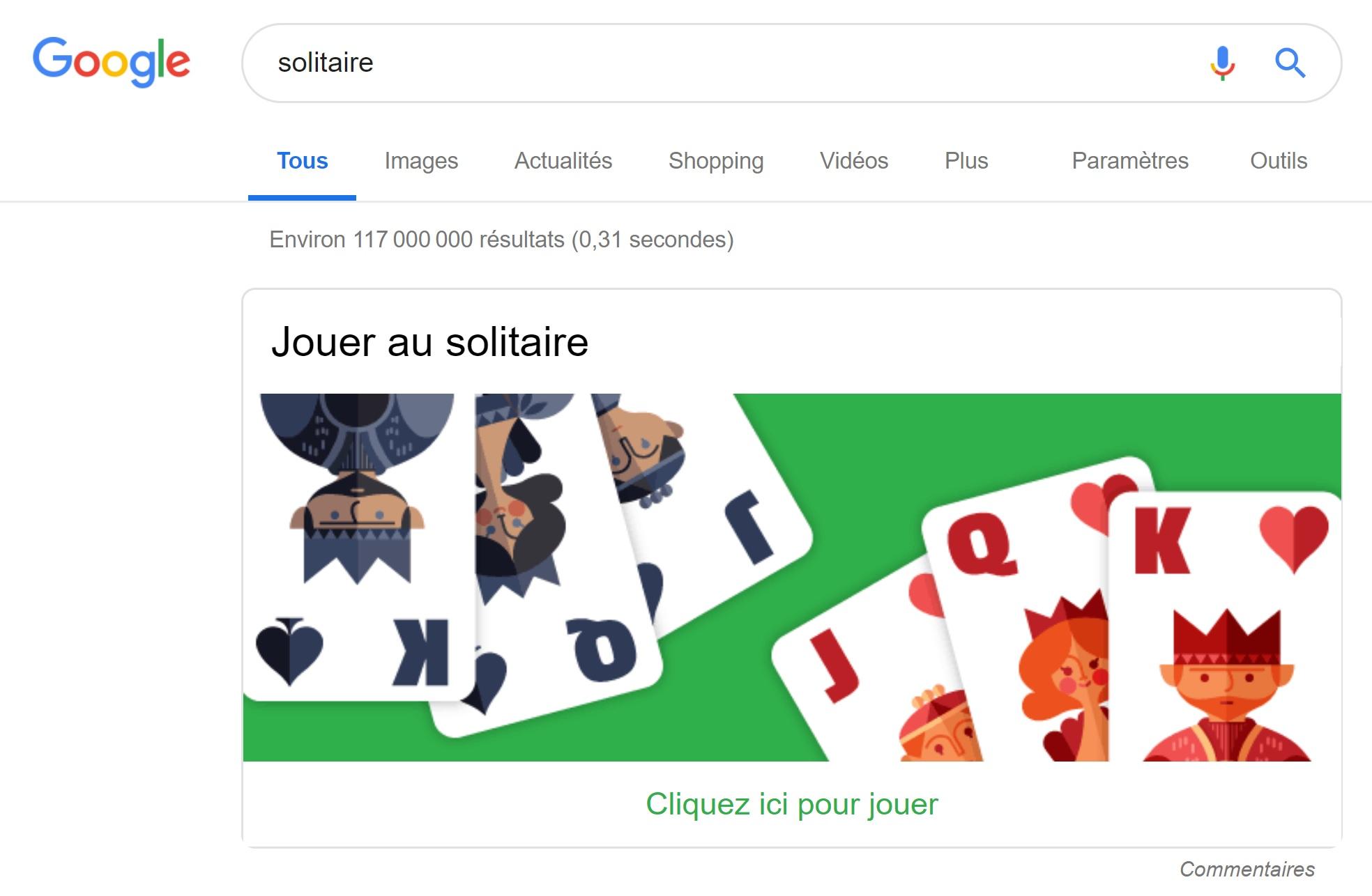 jeu de solitaire de Google