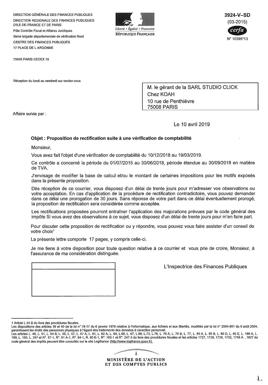 document rectificatif de contrôle fiscal